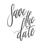 Ahorre la tarjeta de letras de la mano de la fecha, invitación de la boda con la inscripción moderna de la caligrafía Fotos de archivo