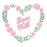 Ahorre la tarjeta floral del corazón de la fecha Boda del vintage stock de ilustración