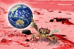 Ahorre la tierra, cangrejo generado por ordenador por la playa se limpia Concepto conveniente para los temas de la protección del stock de ilustración