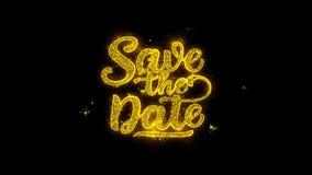 Ahorre la tipografía de la fecha escrita con los fuegos artificiales de oro de las chispas de las partículas