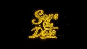 Ahorre la tipografía de la fecha escrita con los fuegos artificiales de oro 1 de las chispas de las partículas