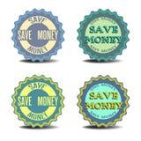 Ahorre las etiquetas engomadas del dinero Fotografía de archivo