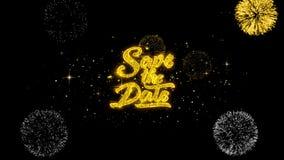 Ahorre las partículas de oro del centelleo del texto de la fecha con la exhibición de oro 1 de los fuegos artificiales