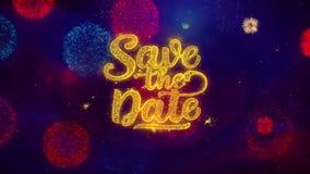 Ahorre las partículas de saludo de la chispa del texto de la fecha en los fuegos artificiales coloreados