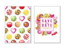 Ahorre los fondos de la fecha con los caramelos ilustración del vector