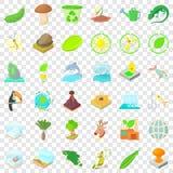 Ahorre los iconos fijados, estilo de la ecolog?a de la historieta stock de ilustración