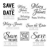 Ahorre los logotipos de la fecha Sistema de typograph del vintage de la invitación de la boda Imágenes de archivo libres de regalías
