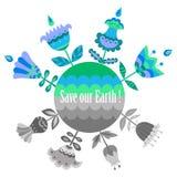 Ahorre nuestra plantilla azul y verde de la tierra del cartel Foto de archivo libre de regalías
