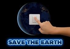 Ahorremos la energía para la reserva nuestra tierra del planeta Concepto de la ecología Los elementos de esta imagen son furn Fotos de archivo libres de regalías