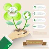 Ahorremos la tierra, infographics del concepto de la ecología Fotografía de archivo