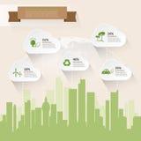 Ahorremos la tierra, infographics del concepto de la ecología Imagen de archivo libre de regalías