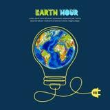 Ahorro de la energía, concepto de la hora de la tierra Vector el ejemplo del planeta de la tierra en bombilla Energía renovable y ilustración del vector