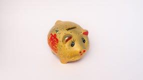Ahorro de oro del estilo chino del cerdo Imagen de archivo libre de regalías