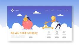 Ahorro del cerdo del dinero para la página del aterrizaje del beneficio Ganancia del depósito de las finanzas con el icono de la  libre illustration