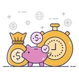 Ahorro del dinero, concepto del ejemplo stock de ilustración