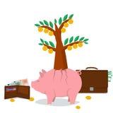 Ahorro del dinero del concepto - árbol del cerdo Foto de archivo libre de regalías