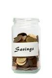 Ahorros del tarro de las monedas Fotografía de archivo