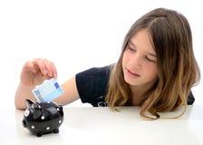 Ahorros euro del dinero para el adolescente Imagen de archivo