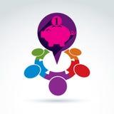 Ahorros financieros e icono social del tema del dinero, gente de la hucha Imagen de archivo