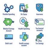 Ahorros médicos del impuesto - cuenta de ahorros de la salud o spendin flexible ilustración del vector