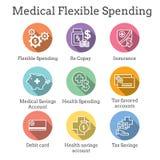 Ahorros médicos del impuesto - cuenta de ahorros de la salud o spendin flexible stock de ilustración