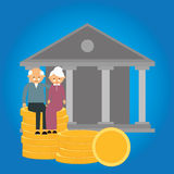 Ahorros mayores del dinero de la preparación de las finanzas de la inversión de la moneda de la caja de jubilación de la pensión ilustración del vector