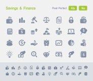 Ahorros y finanzas | Iconos del granito Imagenes de archivo