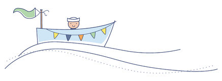 Ahoy it's a boy!. Cute little boy in a row boat going gently down the stream. Illustration Stock Photos