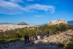 11 03 2018 Ahtens, Grekland - Parthenontemplet på Acropolien Royaltyfria Foton