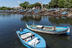 AHTOPOL, BULGARIA - JUNE 30, 2013: Panorama of port of town of Ahtopol, Bulgaria Royalty Free Stock Photos