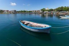 AHTOPOL, BULGARIA - JUNE 30, 2013: Panorama of port of town of Ahtopol, Bulgaria Stock Images