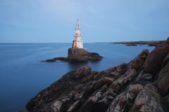 Ahtopol Lighthouse. The Lighthouse of the port town of Ahtopol at the Bulgarian Black Sea coast Stock Images