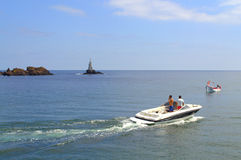 Ahtopol łodzie i latarnia morska Obrazy Stock