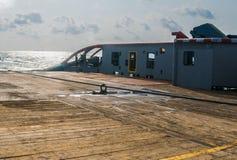 AHTS naczynie robi ładunku elektrostatycznego tankowa holowniczemu udźwigowi Oceanu holownika praca Obrazy Stock