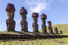 ahu复活节岛moai nau 免版税库存照片