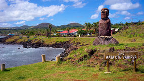 Ahu末多Ote Vaikava,安加罗阿的海岸,复活节岛,智利 免版税库存图片