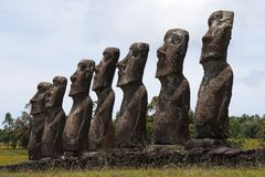 Ahu Akivi, Easter island. (Chile royalty free stock photography