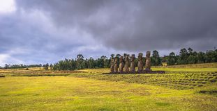 Ahu Akivi, Easter Island - July 11, 2017: Moai altar of Ahu Akivi. Ahu Akivi, Easter Island - July 11, 2017: The Moai altar of Ahu Akivi royalty free stock photos