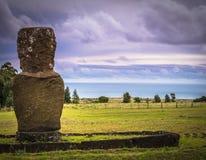 Ahu Akivi, Easter Island - July 11, 2017: Moai altar of Ahu Akivi. Ahu Akivi, Easter Island - July 11, 2017: The Moai altar of Ahu Akivi stock photography