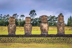Ahu Akivi, Easter Island - July 11, 2017: Moai altar of Ahu Akivi. Ahu Akivi, Easter Island - July 11, 2017: The Moai altar of Ahu Akivi stock photos