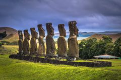 Ahu Akivi, Easter Island - July 11, 2017: Moai altar of Ahu Akivi. Ahu Akivi, Easter Island - July 11, 2017: The Moai altar of Ahu Akivi royalty free stock image