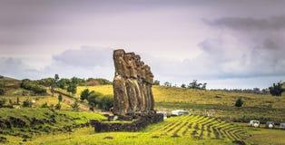 Ahu Akivi, Easter Island - July 11, 2017: Moai altar of Ahu Akivi. Ahu Akivi, Easter Island - July 11, 2017: The Moai altar of Ahu Akivi stock images