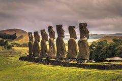 Ahu Akivi, Easter Island - July 11, 2017: Moai altar of Ahu Akivi. Ahu Akivi, Easter Island - July 11, 2017: The Moai altar of Ahu Akivi stock photo