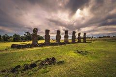 Ahu Akivi, Easter Island - July 11, 2017: Moai altar of Ahu Akivi royalty free stock photography