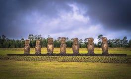 Ahu Akivi, Easter Island - July 11, 2017: Moai altar of Ahu Akivi. Ahu Akivi, Easter Island - July 11, 2017: The Moai altar of Ahu Akivi royalty free stock images
