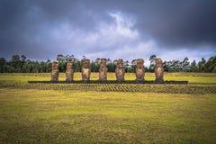 Ahu Akivi, Easter Island - July 11, 2017: Moai altar of Ahu Akivi. Ahu Akivi, Easter Island - July 11, 2017: The Moai altar of Ahu Akivi royalty free stock photography