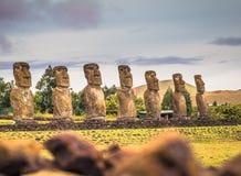 Ahu Akivi, Easter Island - July 11, 2017: Moai altar of Ahu Akivi. Ahu Akivi, Easter Island - July 11, 2017: The Moai altar of Ahu Akivi royalty free stock photo
