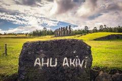 Ahu Akivi, Easter Island - July 12 2017: Moai statues of Ahu Akivi. Ahu Akivi, Easter Island - July 12 2017: The Moai statues of Ahu Akivi stock images