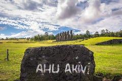 Ahu Akivi, Easter Island - July 12 2017: Moai statues of Ahu Akivi. Ahu Akivi, Easter Island - July 12 2017: The Moai statues of Ahu Akivi stock photography