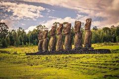 Ahu Akivi, Easter Island - July 12 2017: Moai statues of Ahu Akivi. Ahu Akivi, Easter Island - July 12 2017: The Moai statues of Ahu Akivi stock photo